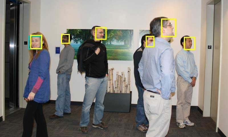MATLAB's face detection in yellow, MTCNN in teal.